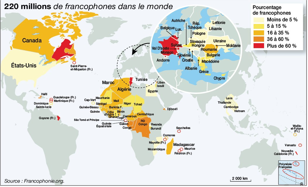 Map Of Francophone Africa.French Speaking Countries Map Map Of Francophone Countries